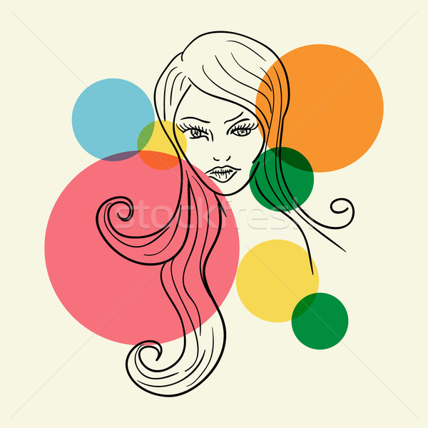 Fashion Woman face sketch Stock photo © cienpies