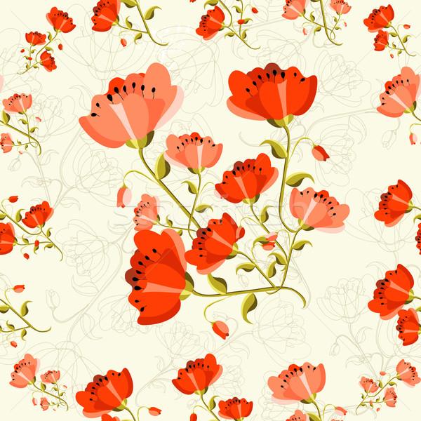 Papavero modello di fiore cute fiore Foto d'archivio © cienpies