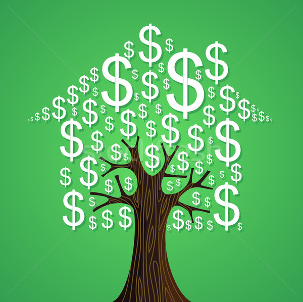 Real estate tree house cash icons rental concept. Stock photo © cienpies