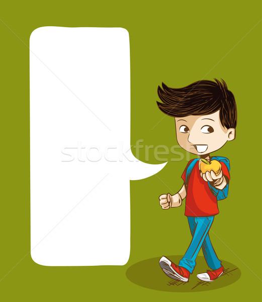 Stock fotó: Vissza · az · iskolába · oktatás · fiú · társasági · buborék · rajz