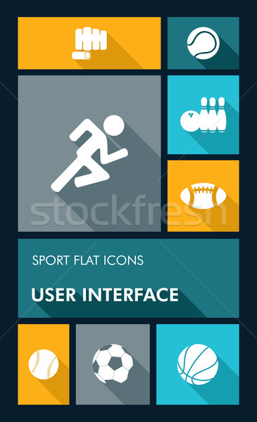 Colorful sport UI apps user interface flat icons. Stock photo © cienpies