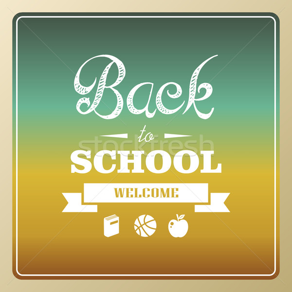 Vintage back to school and icons background illustration. Stock photo © cienpies