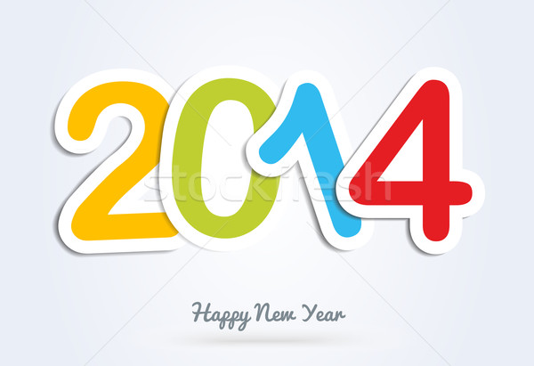 Multicolor Happy New Year 2014 greeting card Stock photo © cienpies