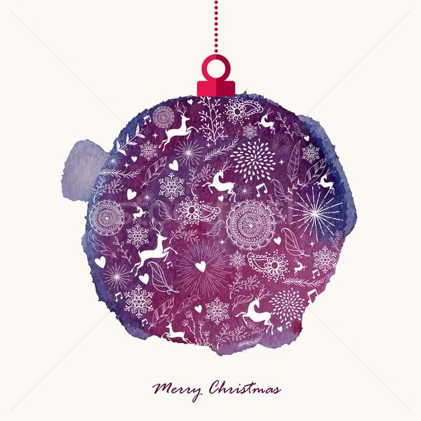 クリスマス レトロな 安物の宝石 水彩画 グリーティングカード 手描き ストックフォト © cienpies