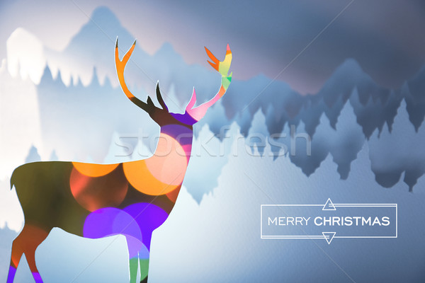 Merry christmas bokeh deer paper cut forest card Stock photo © cienpies