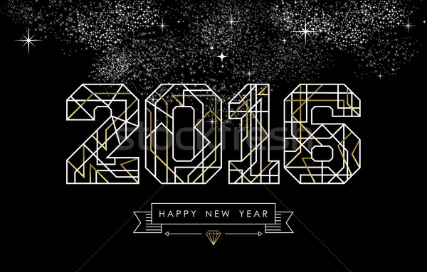 Happy new year 2016 gold deco geometry outline Stock photo © cienpies