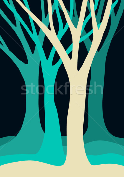 Blue tree silhouettes forest illustration Stock photo © cienpies