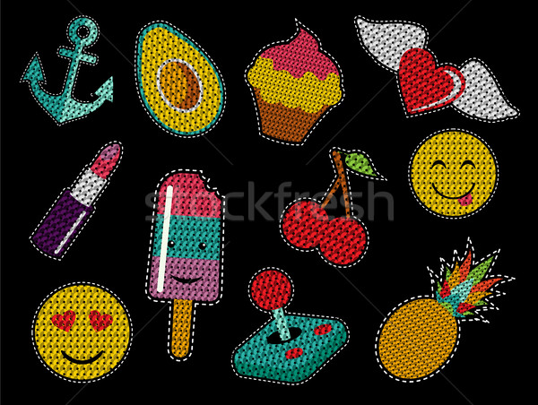 Set of cute sequin pop art retro patch icons Stock photo © cienpies