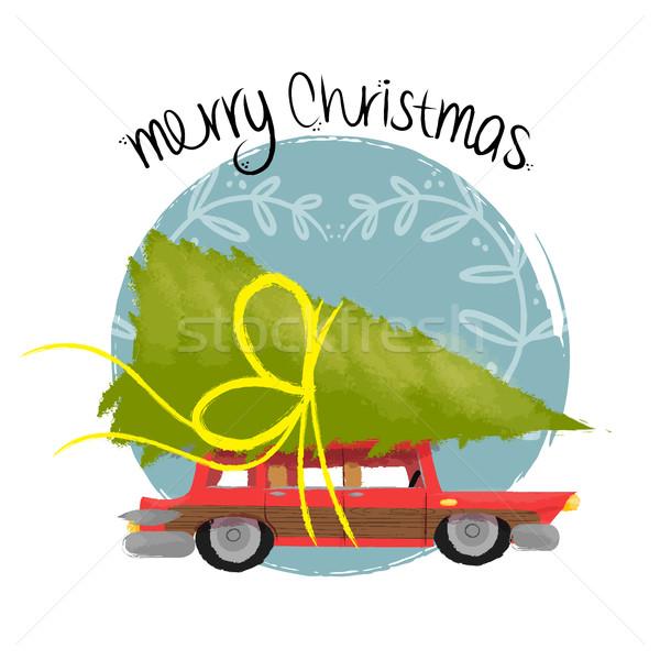 Vrolijk christmas kunst retro auto pijnboom Stockfoto © cienpies