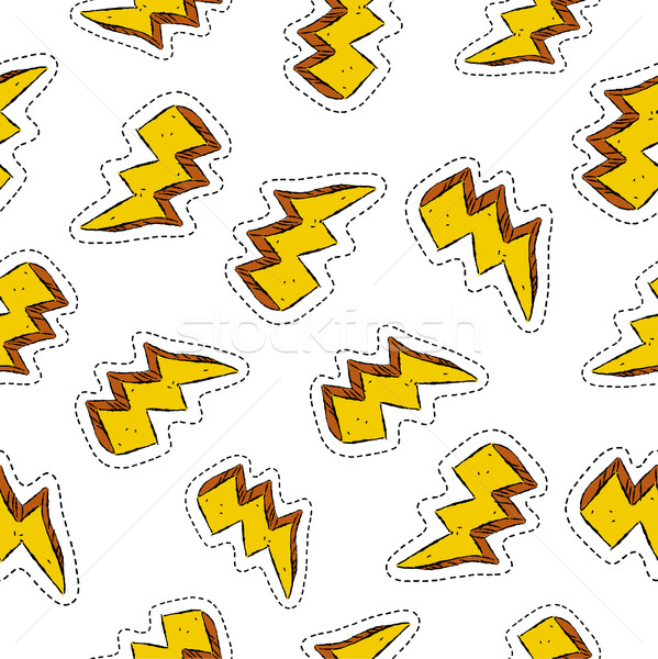 Thunder ray retro patch icon seamless pattern Stock photo © cienpies