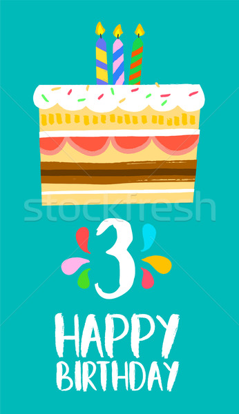 Stock photo: Happy Birthday cake card for 3 three year party