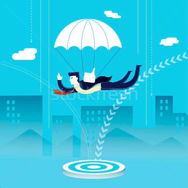 Zakenman skydiving business investering illustratie Stockfoto © cienpies