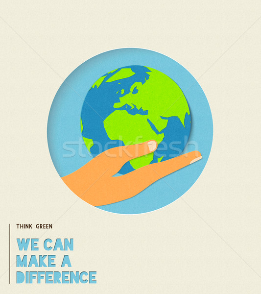 Dia da terra ambiente cuidar papel cortar ilustração Foto stock © cienpies