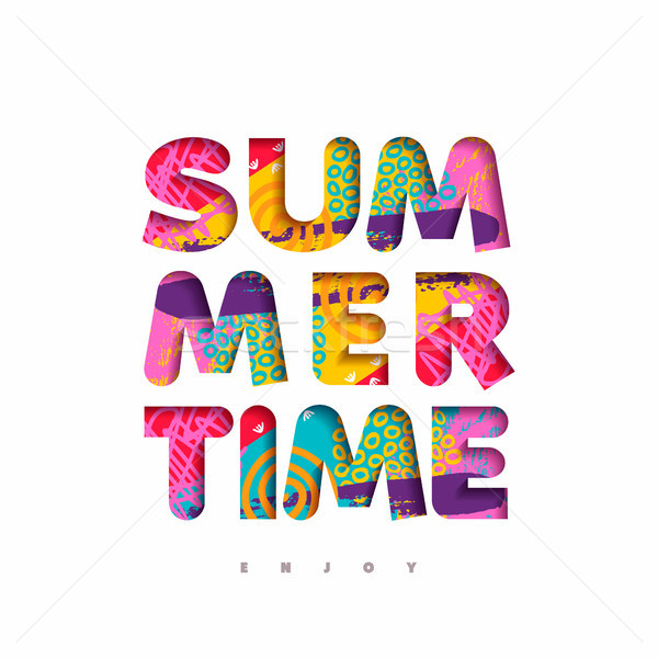 Summer time multicolor quote in fun 3d paper cut style
