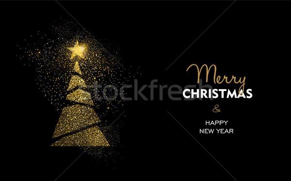 Navidad año nuevo oro brillo pino tarjeta Foto stock © cienpies
