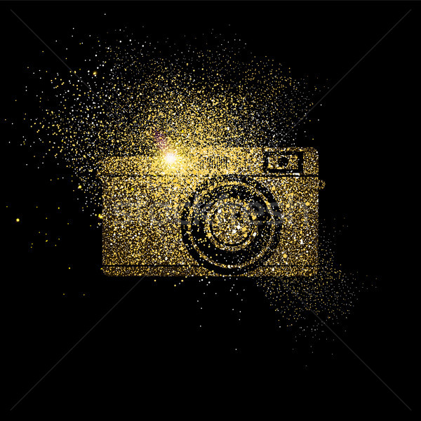Camera gold glitter concept symbol illustration Stock photo © cienpies