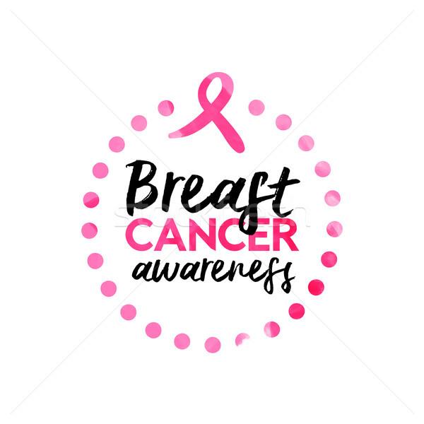 Borstkanker bewustzijn lint aquarel citaat roze Stockfoto © cienpies