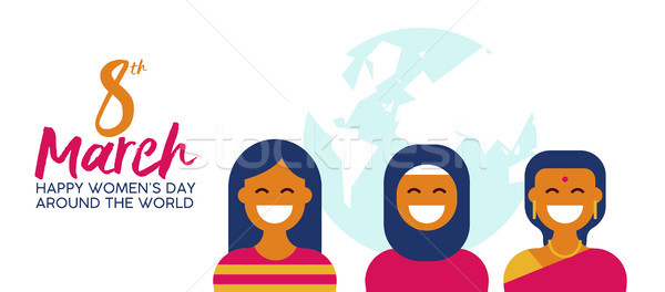 Ethnic woman group for happy women day banner Stock photo © cienpies