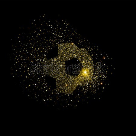 Soccer ball symbol made of gold glitter dust Stock photo © cienpies