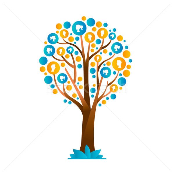 Family tree concept with people group icons Stock photo © cienpies