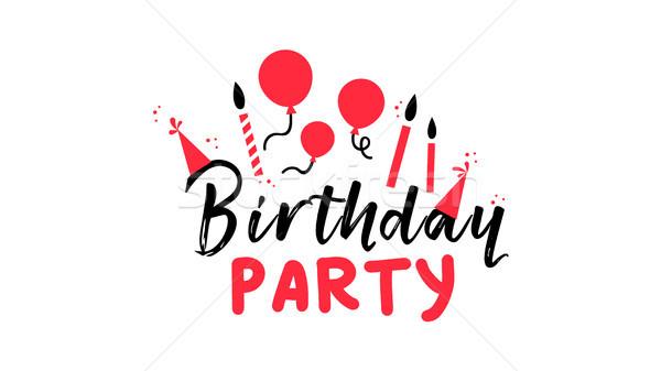 Festa di compleanno testo citare doodle decorazione tipografia Foto d'archivio © cienpies