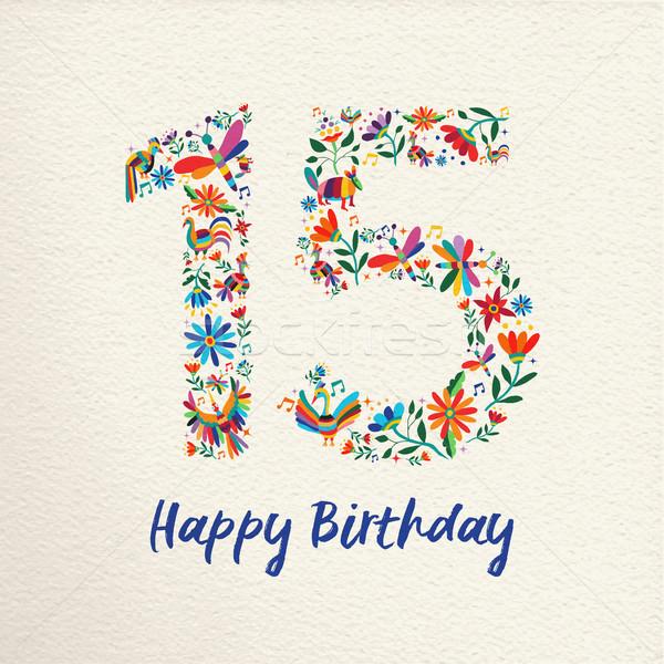 Feliz aniversário 15 quinze anos flor decoração Foto stock © cienpies
