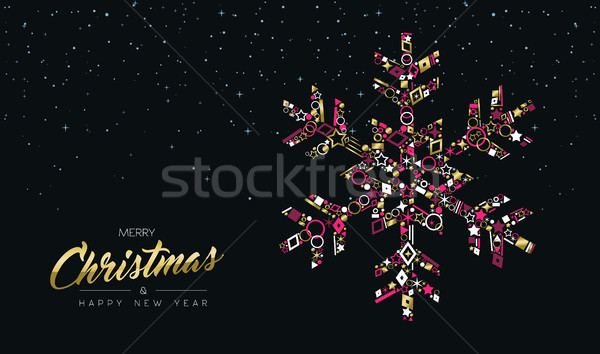 Stock photo: Christmas and New Year luxury gold snowflake card