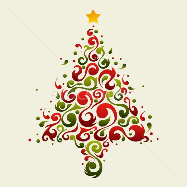 Növény díszítő karácsonyfa zöld piros virágmintás Stock fotó © cienpies