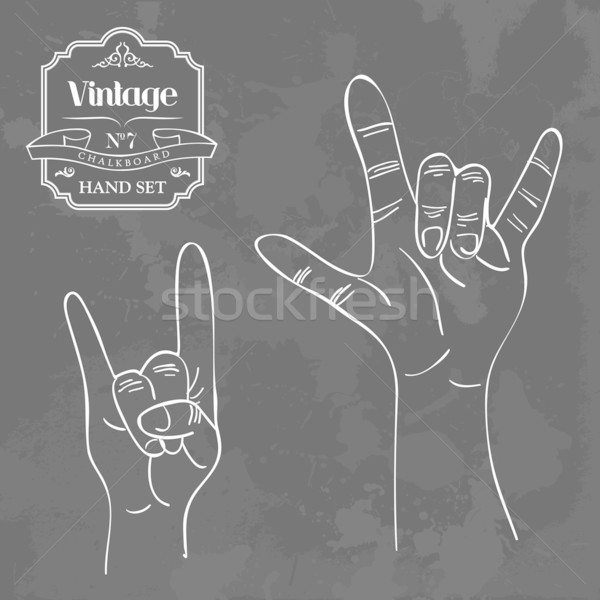 Vintage доске рок катиться рукой знак ретро Сток-фото © cienpies
