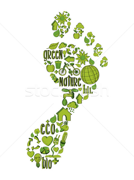 Stock photo: Green foot print with environmental icons