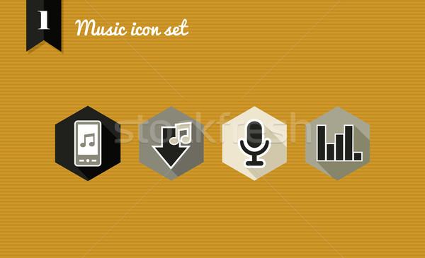Music flat icons set. Stock photo © cienpies