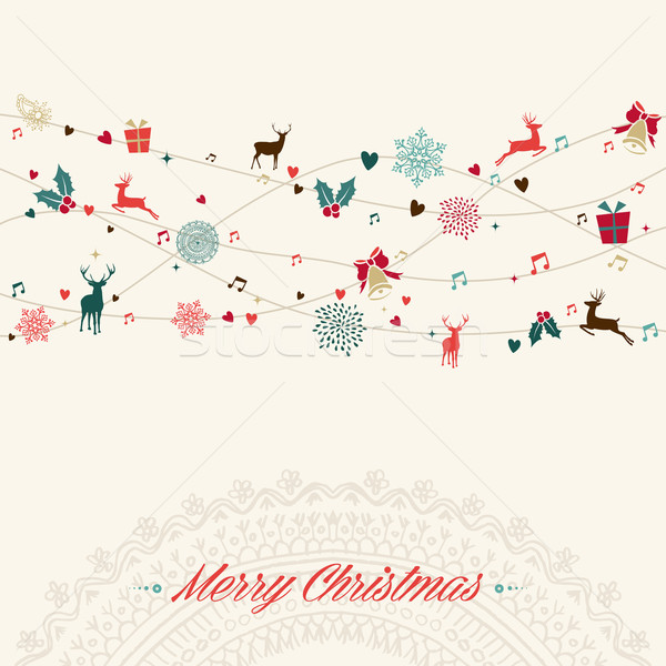 Merry Christmas vintage garland card Stock photo © cienpies