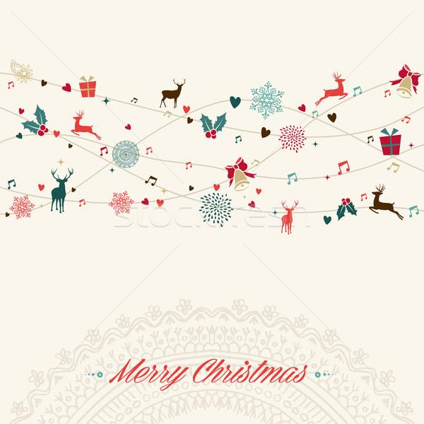 Stok fotoğraf: Neşeli · Noel · bağbozumu · çelenk · kart · renkler