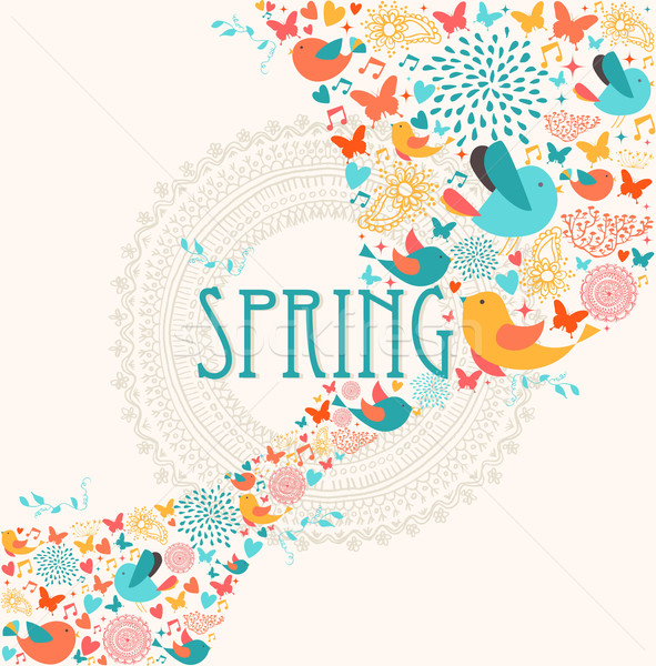 Spring greeting card illustration Stock photo © cienpies