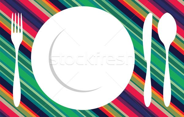 Tenedor cuchillo cuchara mantel cubiertos iconos Foto stock © cienpies