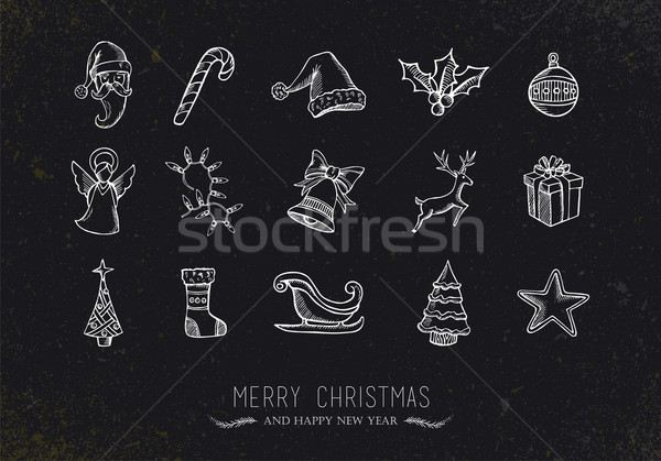 Vintage sketch Christmas icons Stock photo © cienpies