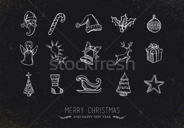 Vintage croquis Noël icônes joyeux rétro Photo stock © cienpies
