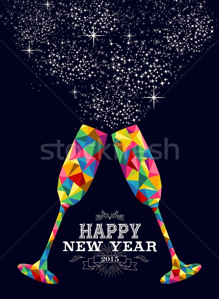 New year 2015 color glass greeting card Stock photo © cienpies