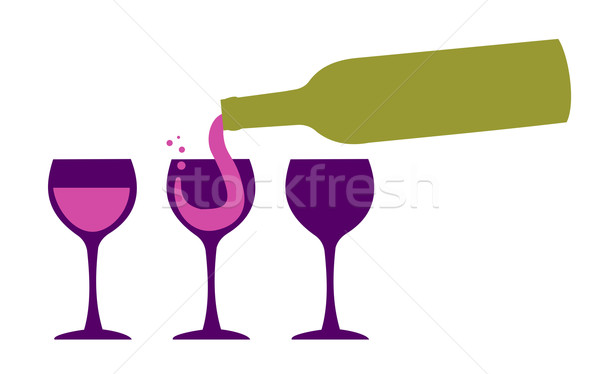 Wine bottle serving wineglasses Stock photo © cienpies