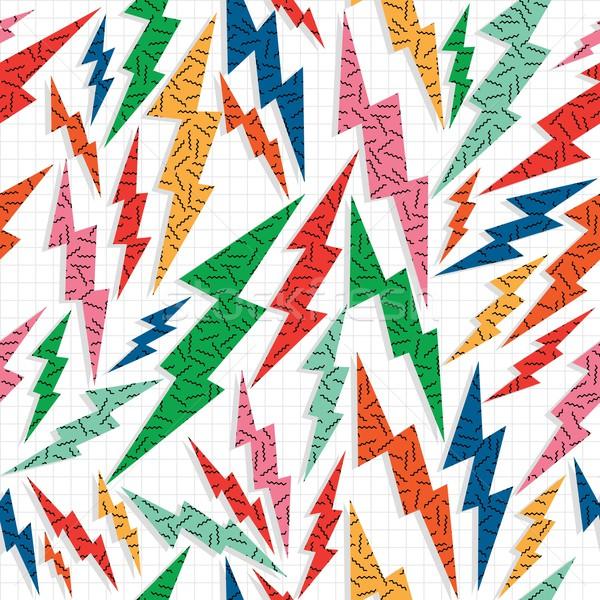 Rétro vintage Thunder éclairage 80 Photo stock © cienpies
