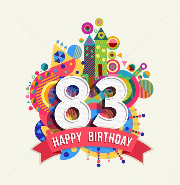 С Днем Рождения год плакат цвета восемьдесят Сток-фото © cienpies