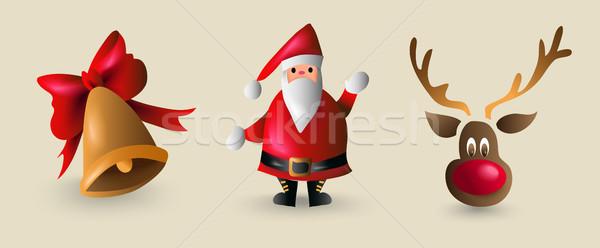 Stock photo: Christmas cartoon element set for decoration
