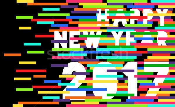 Happy New Year 2017 quote typography design Stock photo © cienpies