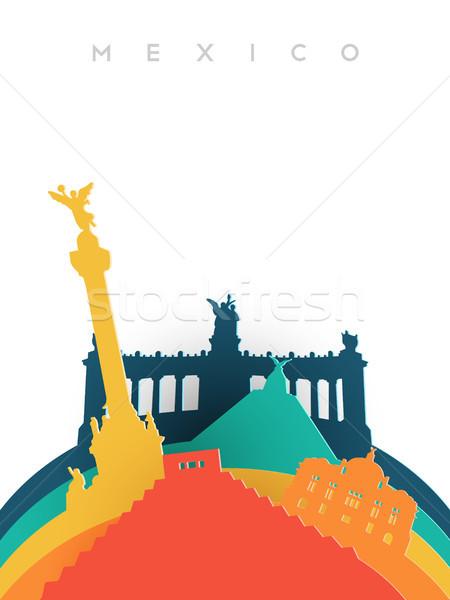 Voyage 3D papier coupé monde illustration Photo stock © cienpies