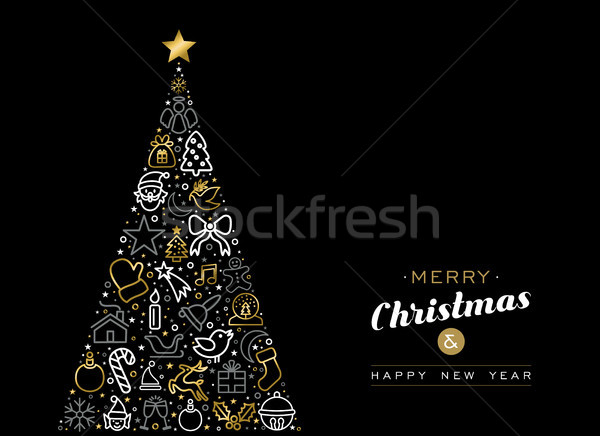 Christmas and new year gold outline icon card Stock photo © cienpies