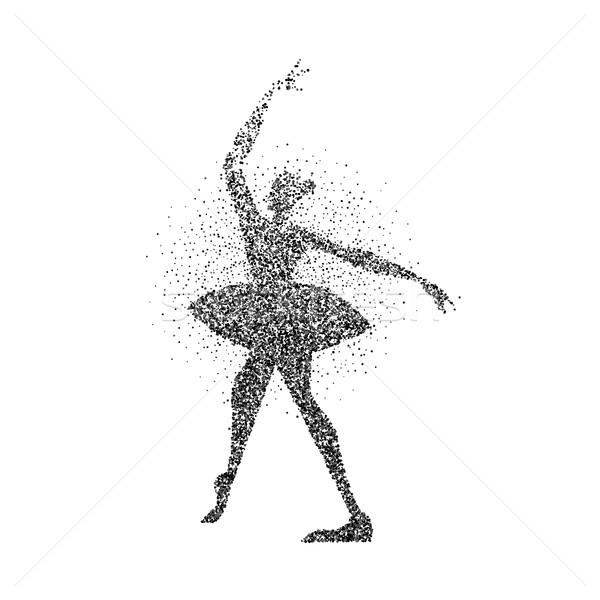 Ballerine fille silhouette noir particules danse Photo stock © cienpies