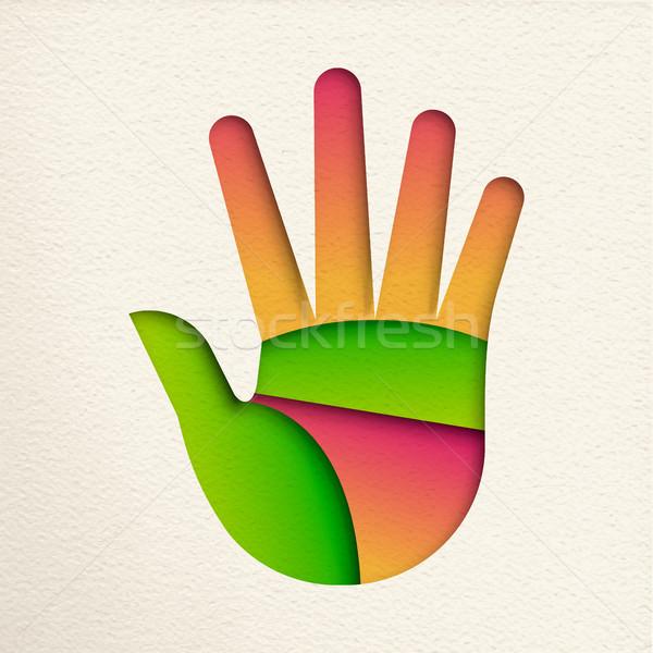 緑 人の手 カットアウト 環境 ヘルプ オープン ストックフォト © cienpies