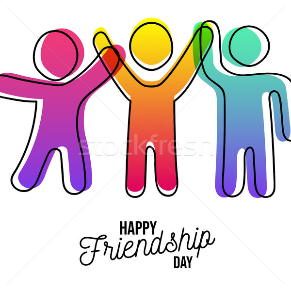 Happy Friendship day card of friends dancing Stock photo © cienpies