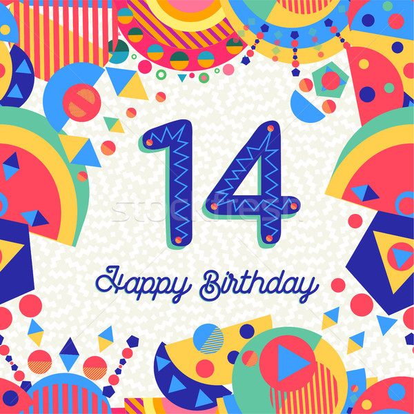 Fourteen 14 year birthday greeting card number Stock photo © cienpies