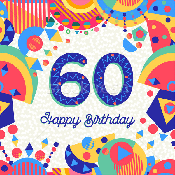 60 sixty year birthday party greeting card Stock photo © cienpies